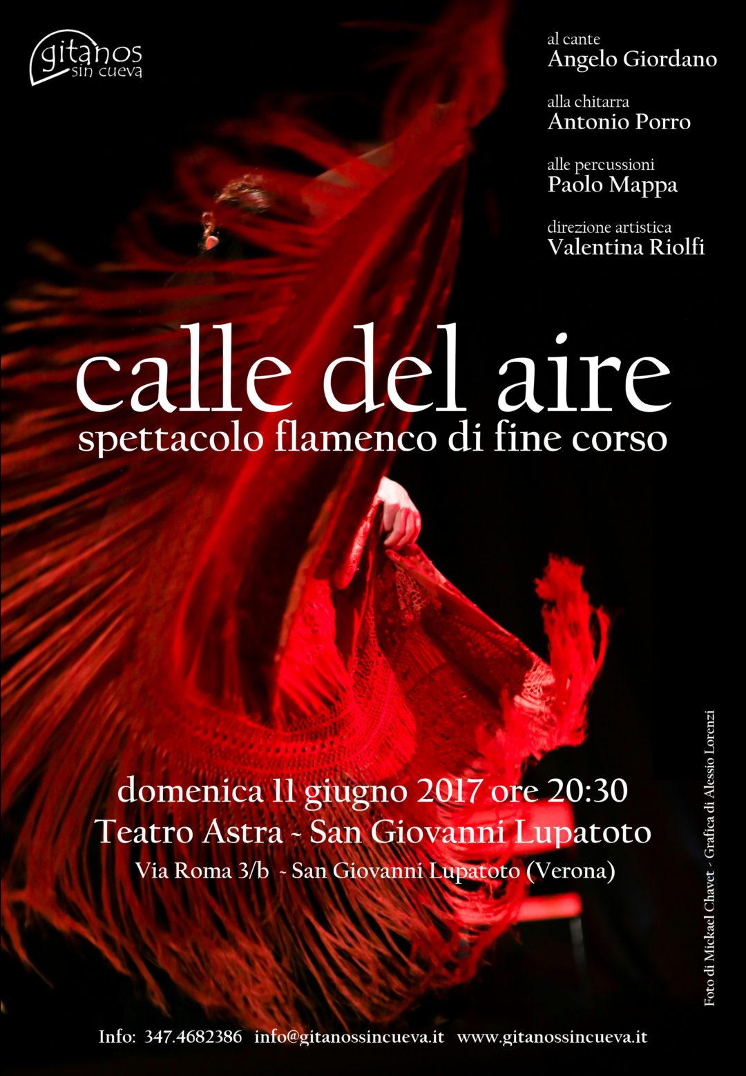 """Locandina di """"Calle del aire"""", spettacolo flamenco di fine corso 2017"""